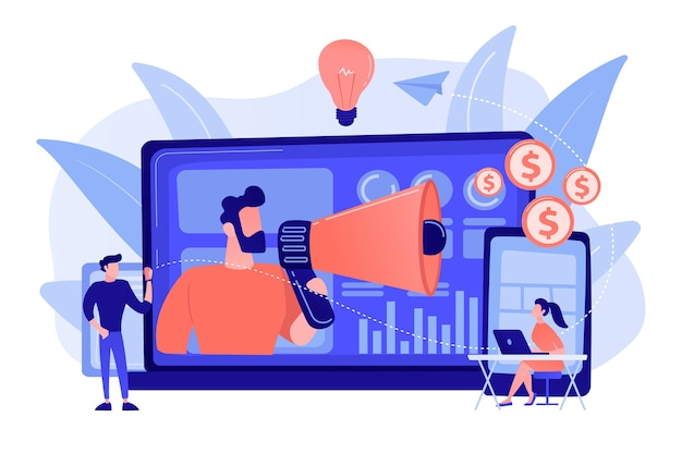 Marketer delivering ads with megaphone and devices. cross-device marketing, cross-device marketing analysis and strategy concept pinkish coral bluevector isolated illustration
