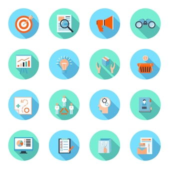 Marketer flat icons set with advertising effectiveness brand analytics product marketing isolated vector illustration