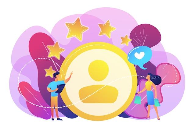 Marketer che misura la soddisfazione del cliente e le stelle di valutazione. analisi di soddisfazione e fedeltà, aumento della fidelizzazione dei clienti, concetto di strumenti di marketing.