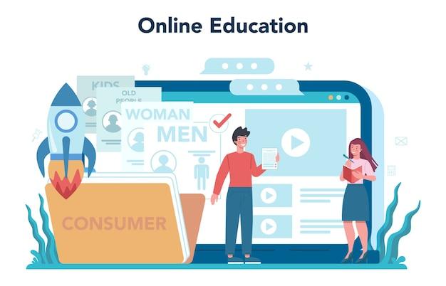 マーケターのオンラインサービスまたはプラットフォーム。広告とマーケティングの概念。