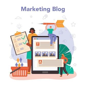 마케터 온라인 서비스 또는 플랫폼. 브랜드 또는 제품 광고