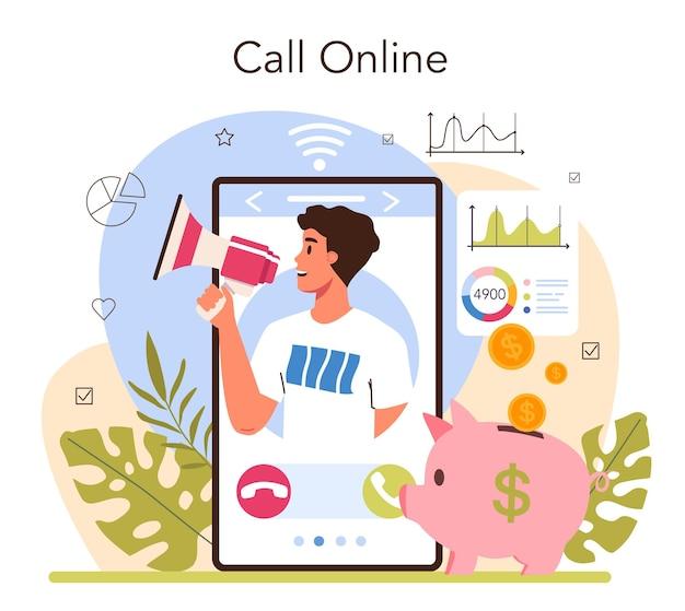マーケターのオンラインサービスまたはプラットフォーム。マーケティング戦略とソーシャルメディアによる顧客とのコミュニケーション。オンライン通話。フラットベクトルイラスト