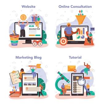 Marketer online service or platform set. brand or product advertising