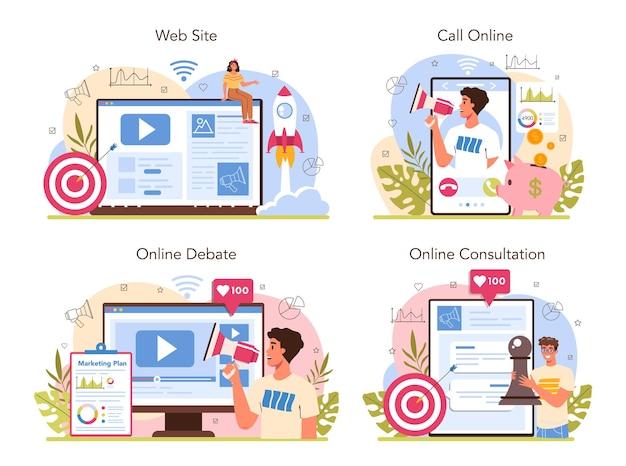 Marketer online service or platform set. marketing strategy and communucation