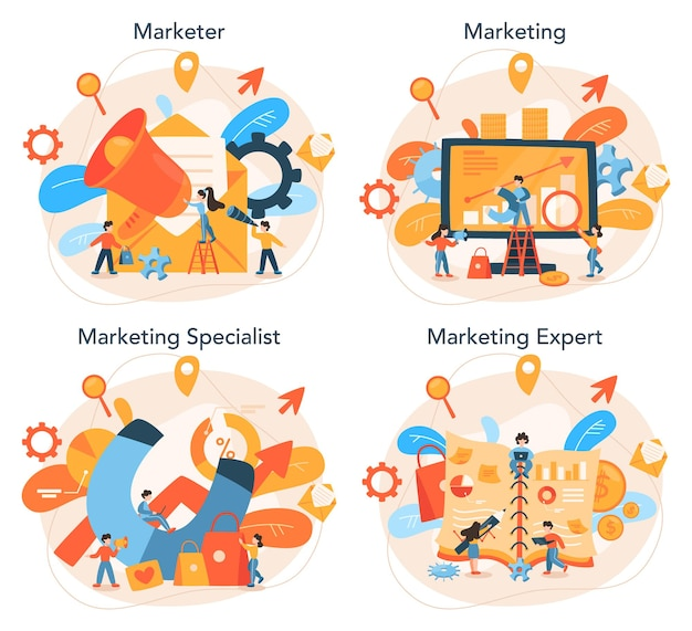 Marketer set advertising and marketing concept
