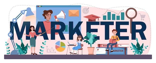 Типографский заголовок маркетолога. школьный курс по продвижению бизнеса и общению с клиентами. студенты проводят маркетинговые исследования, анализ рынка. плоские векторные иллюстрации