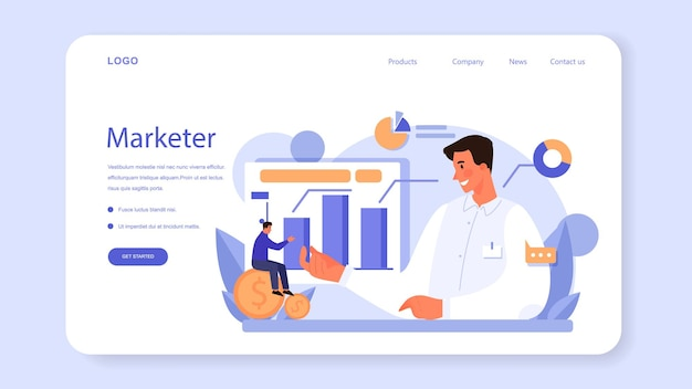 Marketer web banner or landing page. advertising and marketing concept. business strategy and communucation with a customer. isolated flat vector illustration
