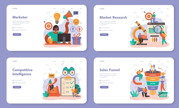 Marketer web banner or landing page set. brand or product advertising and promotion. specialist developing marketing strategy and communucation with a customer. flat vector illustration