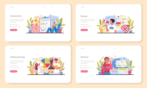 Marketer web banner or landing page set. marketing strategy and communucation with a customer by social media. company promotion, pricing strategy, market trends analysis. flat vector illustration
