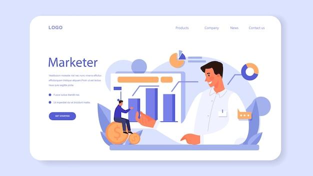 Веб-баннер или целевая страница маркетолога. концепция рекламы и маркетинга. бизнес-стратегия и общение с заказчиком. изолированные плоские векторные иллюстрации