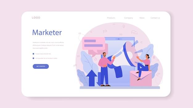 마케팅 담당자 웹 배너 또는 방문 페이지. 광고 및 마케팅 개념. 비즈니스 전략 및 고객과의 커뮤니케이션.
