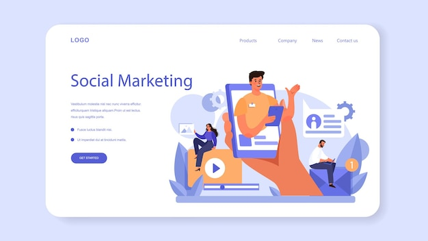 Веб-баннер или целевая страница маркетолога. концепция рекламы и маркетинга.