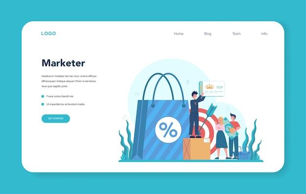 マーケティング担当者のwebバナーまたはランディングページ。広告とマーケティングの概念。