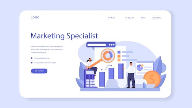 Веб-баннер или целевая страница маркетолога. изолированные плоские векторные иллюстрации