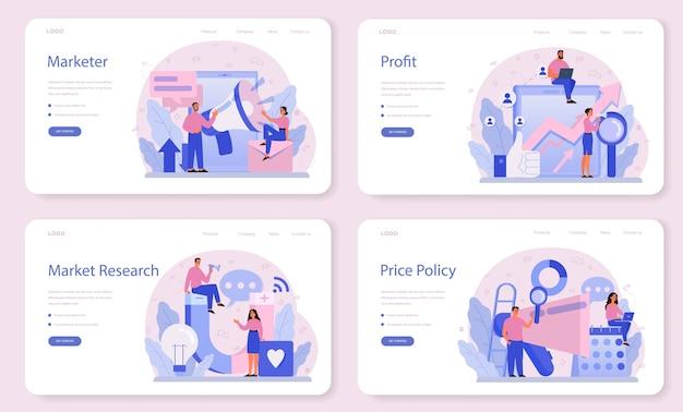 Набор веб-баннера или целевой страницы для маркетолога