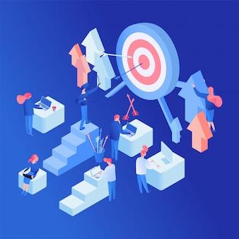 Marketers teamwork isometric