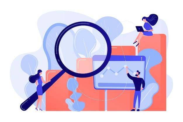 Marketers con grafico delle opportunità di marketing per la ricerca di lente d'ingrandimento. ricerche di mercato, analisi di marketing, opportunità di mercato e illustrazione del concetto di problemi