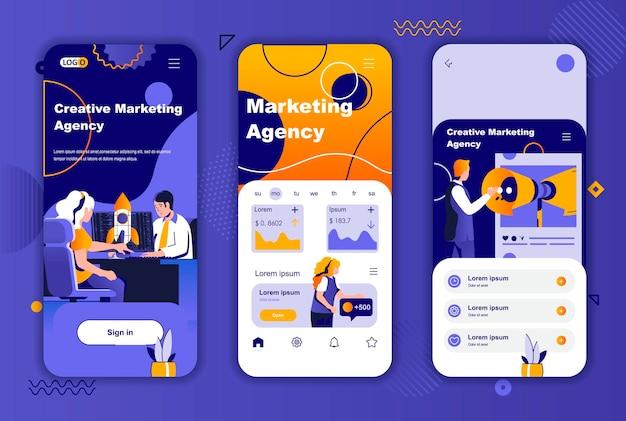 소셜 네트워크 스토리를위한 마케팅 대행사 모바일 앱 화면 템플릿