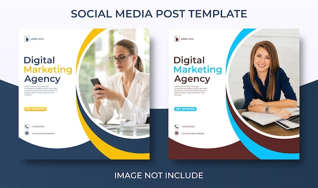 Marketing agency social media template for corporate