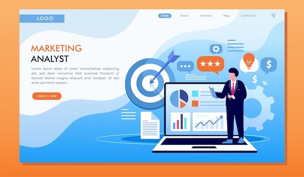 Marketing analyst strategy target and achievement website landing page