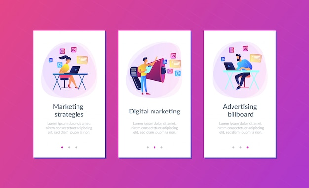 Marketing app interface template