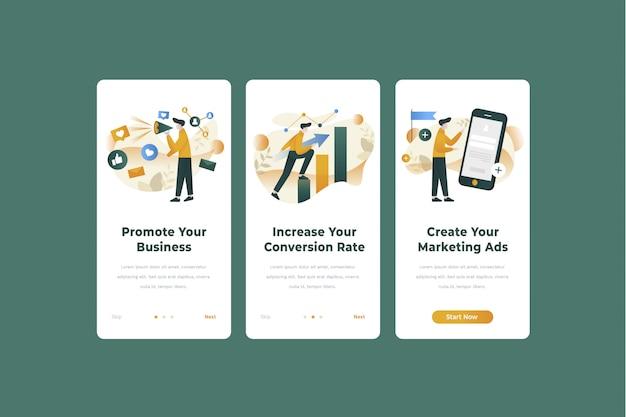 Marketing app onboarding screen illustration template