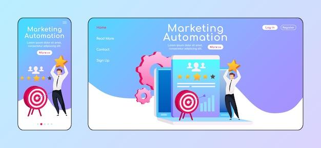 マーケティングオートメーションの適応型ランディングページフラットカラーテンプレート。スターモバイル、pcホームページレイアウトで男性の笑顔。ターゲットページのwebサイトuiの矢印。クライアントサービスのウェブページのクロスプラットフォームデザイン