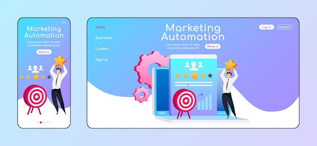Marketing automation adaptive landing page flat color  template. smiling male with star mobile, pc homepage layout. arrow in target page website ui. client service webpage cross platform design