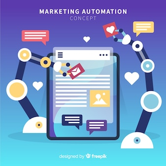 Marketing automation flat background
