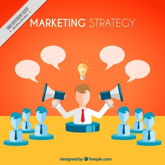 Marketing background of businessman with megaphones and speech bubbles
