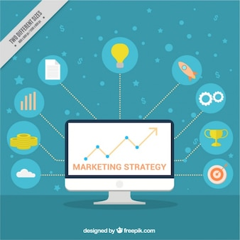 Marketing background with computer and colorful icons