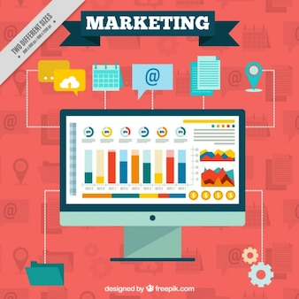 Marketing background with computer and icons