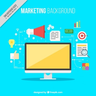 Marketing background with computer in flat design