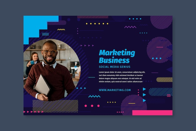 Marketing business banner template Free Vector