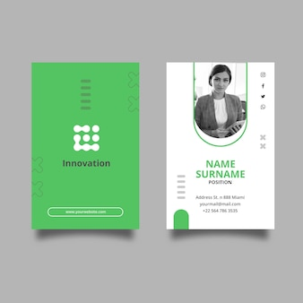 Marketing business double-sided vertical business card template