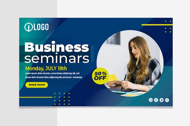 Marketing business horizontal banner template