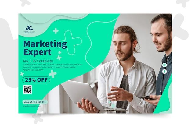 Modello di banner orizzontale di attività di marketing