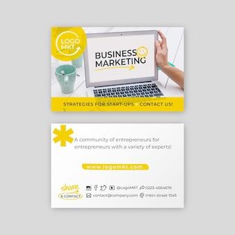 Маркетинговая бизнес-горизонтальная визитка