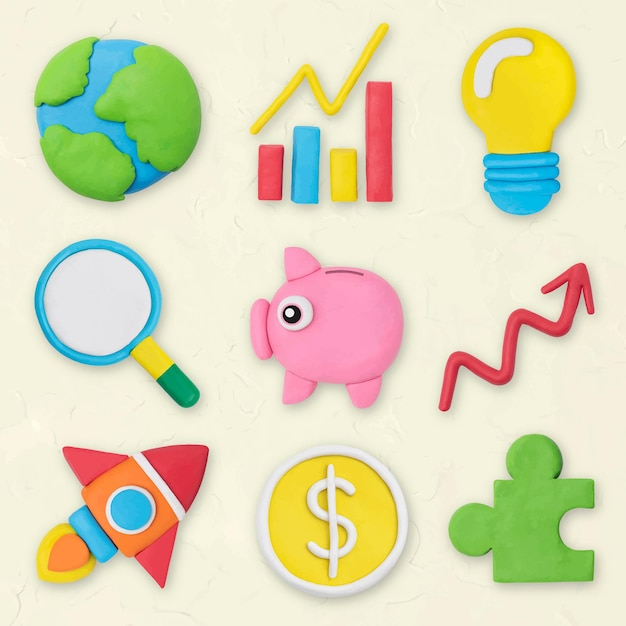마케팅 비즈니스 아이콘 벡터 크리에이 티브 다채로운 클레이 아이 그래픽 세트