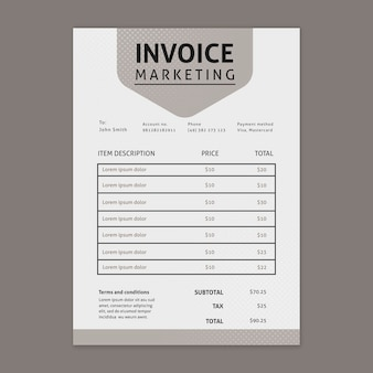 Marketing business invoice template