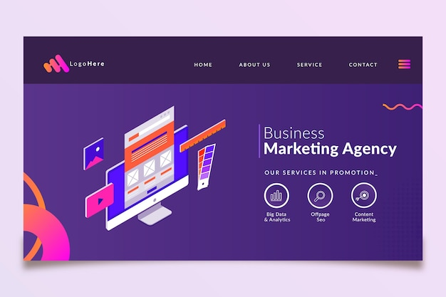 Шаблон целевой страницы маркетингового бизнеса