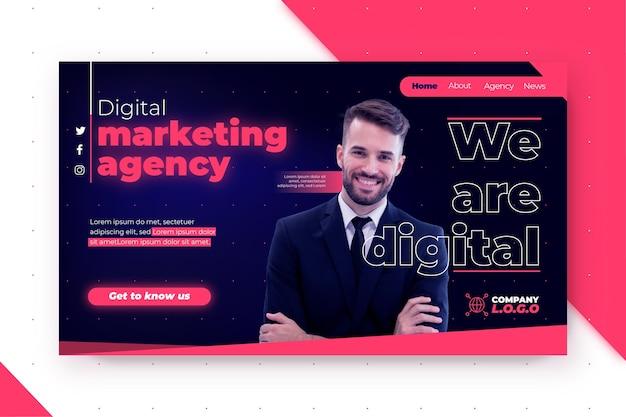 Modello di pagina di destinazione dell'attività di marketing