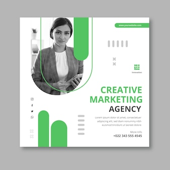 Marketing business square flyer template