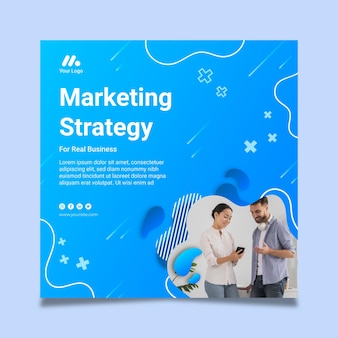 Marketing business squared flyer template