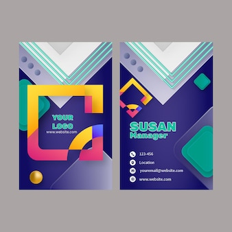 Шаблон вертикальной визитки для бизнеса