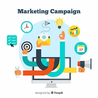 Marketing campaign flat background