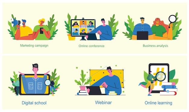 マーケティングキャンペーン、ビデオ会議、モダンなフラットでクリーンなデザインのビジネス分析の概念図。男性と女性はラップトップとタブレットを使用しています。