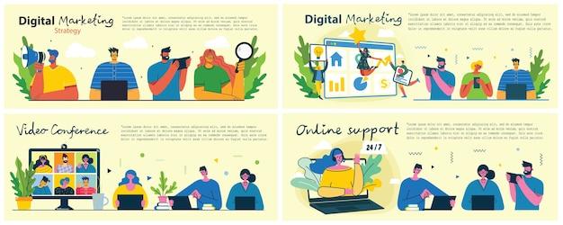 마케팅 캠페인, 화상 회의, 현대 평평하고 깨끗한 디자인의 비즈니스 분석 개념 그림. 남성과 여성은 노트북과 태블릿을 사용합니다.