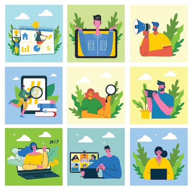 マーケティングキャンペーン、ビデオ会議、ビジネス分析の概念図。男性と女性はラップトップとタブレットを使用しています。