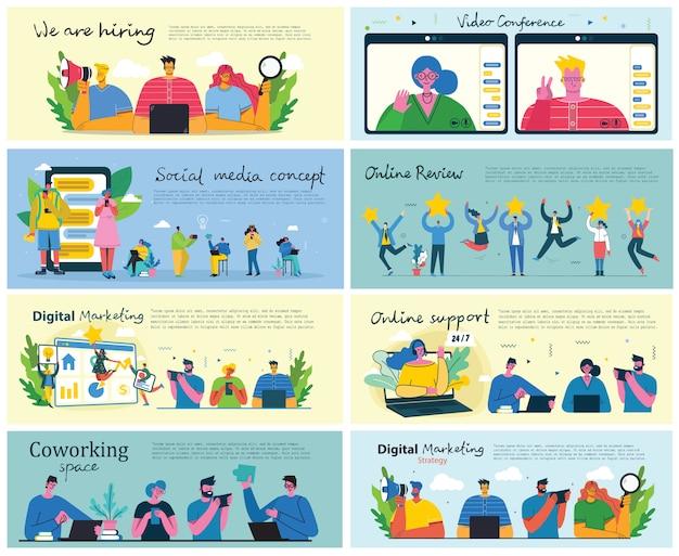マーケティングキャンペーン、ビデオ会議、コーヒータイム、フラットでクリーンなデザインのビジネス分析の概念図。男性と女性はフラットなデザインでラップトップとタブレットを使用します。
